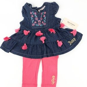 Juicy Couture Baby Girls 2PC Outfit Dark Blue Cora
